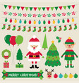christmas characters and decoration set vector image