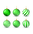 christmas tree shiny green balls set new year vector image