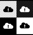 cloud upload icon isolated on black white and vector image vector image