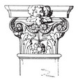 corinthian pilaster capital decorated vintage vector image vector image