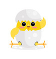 cute newborn yellow chicken character funny vector image