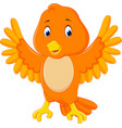 cute orange bird cartoon vector image vector image
