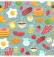 Cute seamless pattern with breakfast food vector image