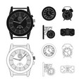design of clock and time icon set of clock vector image vector image
