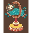 drawing of circus theme - lion jumps through a vector image vector image