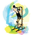 drawing of man doing crossfit push ups with trx vector image vector image