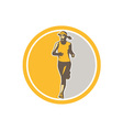 Female Triathlete Marathon Runner Circle Retro vector image vector image
