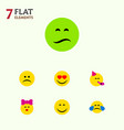 flat icon emoji set of cold sweat frown party vector image vector image