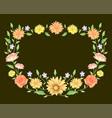 floral frame template decoration on black vector image vector image