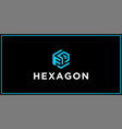fp hexagon logo design inspiration vector image vector image