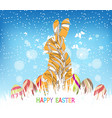 happy easter eggs and bunny winter background vector image vector image