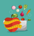 healthy food and fitness icons vector image vector image