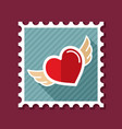 heart with wings stamp vector image vector image