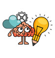 light bulb with brain and icons vector image vector image