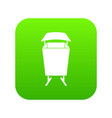 litter waste bin icon digital green vector image vector image