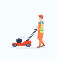 man gardener in uniform cutting grass with lawn vector image