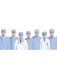 medicine professionals in medical mask seamless vector image vector image