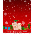 merry christmas 2020 font logo with cute dog vector image