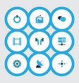 multimedia icons colored set with controller vector image vector image