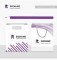 office item pencil and shopping bag with company vector image