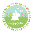 pastel happy easter graphic with bunny tulips vector image vector image