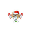 pecan pie mascot with santa bring candy on white vector image vector image