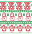 Red green Scandinavian vintage Christmas pattern vector image vector image