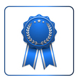 Ribbon award icon blue 2 vector image vector image