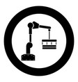 robotic hand manipulator black icon in circle vector image vector image