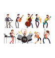 rock n roll music band characters with vector image vector image