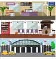 set airport interior concept design vector image