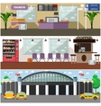 set of airport interior concept design vector image vector image