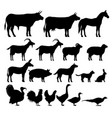 Silhouettes farm animals