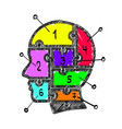 sketch head puzzle numbers info vector image vector image