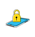 smartphone device with padlock vector image