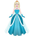 Snow Princess In Blue Dress Front vector image vector image