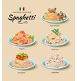 Spaghetti or pasta dishes set in cartoon vector image vector image