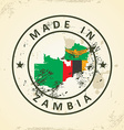 Stamp with map flag of Zambia vector image vector image
