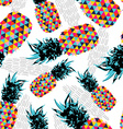 Summer seamless pattern with color retro pineapple vector image