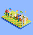 supermarket checkout isometric composition vector image vector image