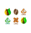 Isolated abstract coffee bean logo set Eco vector image