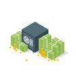 bank safe with money dollar stacks safe open vector image