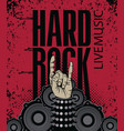 banner for hard rock music with rock hand sign vector image