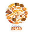bread products round poster vector image vector image