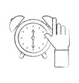business hand clock alarm device icon vector image