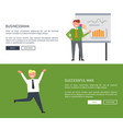 businessman with successful man web page design vector image vector image
