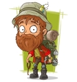 Cartoon bearded man with spoon and piolet vector image