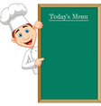 Cartoon chef cloche pointing at menu board vector image vector image