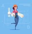 cartoon female builder holding key from new house vector image vector image