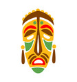 carved wooden mask with human face native indian vector image vector image
